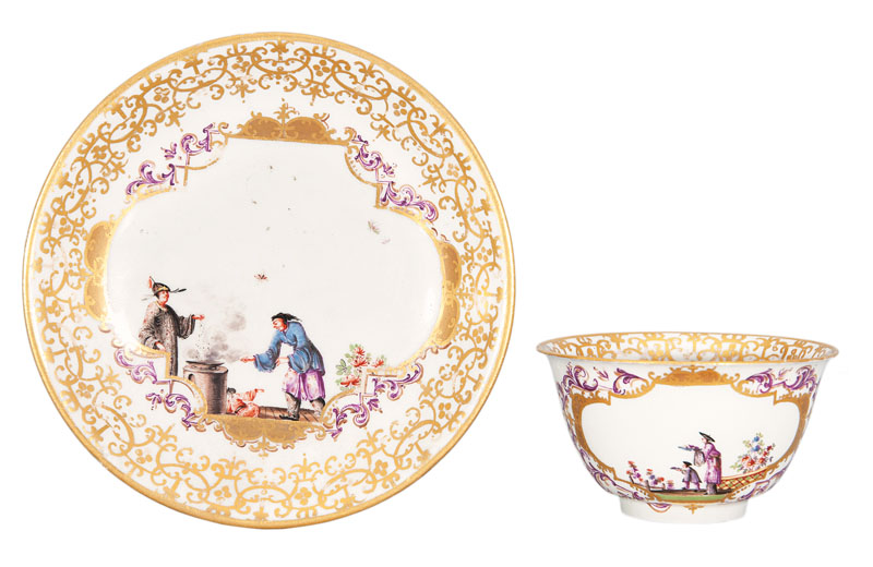A fine tea-bowl and saucer with Chinoiseries
