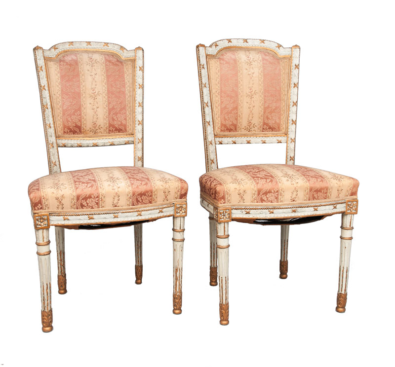 A pair of chairs in Louis Seize style