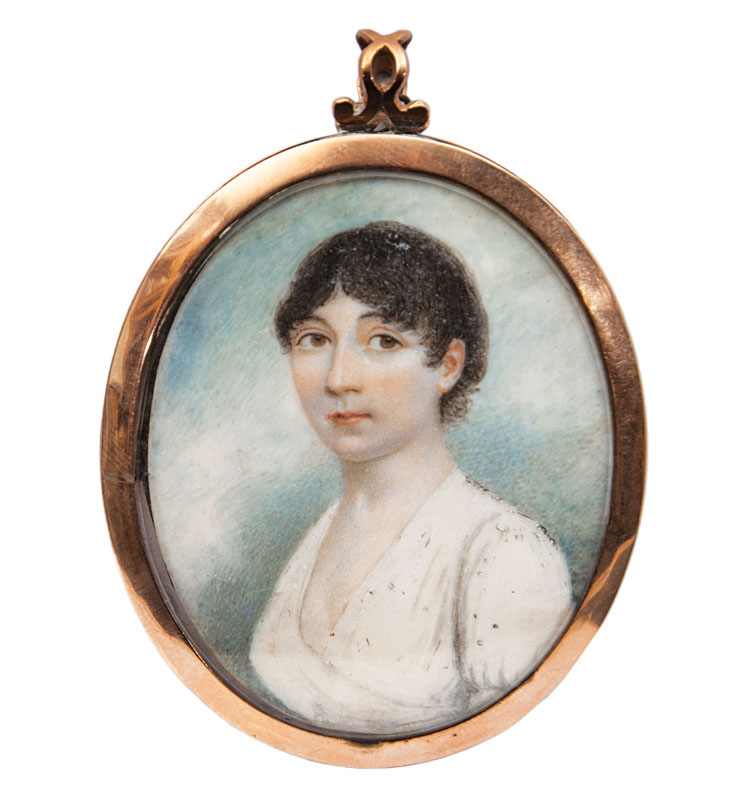 A Georgian miniature portrait of a young lady