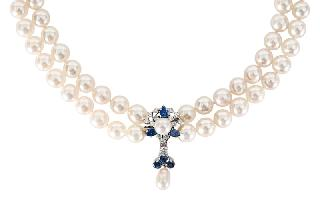 A pearl necklace with sapphire-diamond clasp