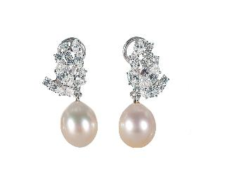 A pair of Southsea pearl diamond earclips