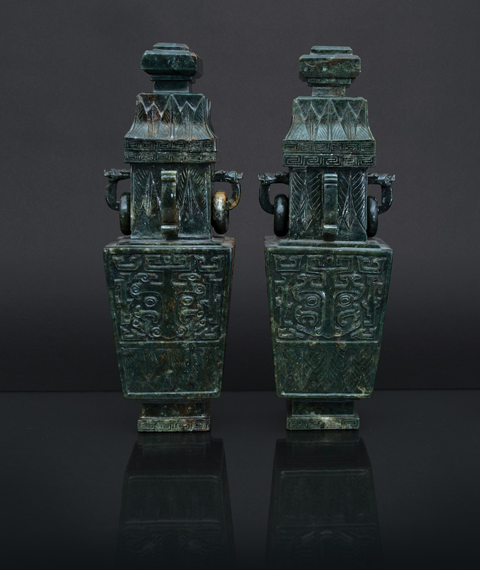 A pair of tall spinach-green jade vases 'Fang Lei'