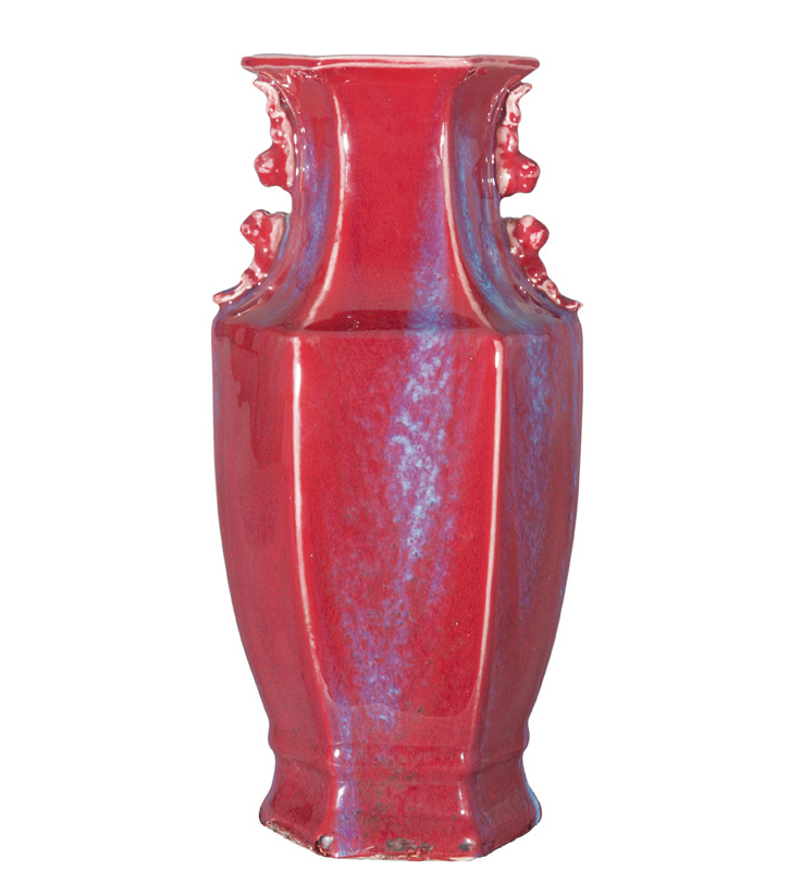 A hexagonal flambé-glazed vase with Fô-dog handles