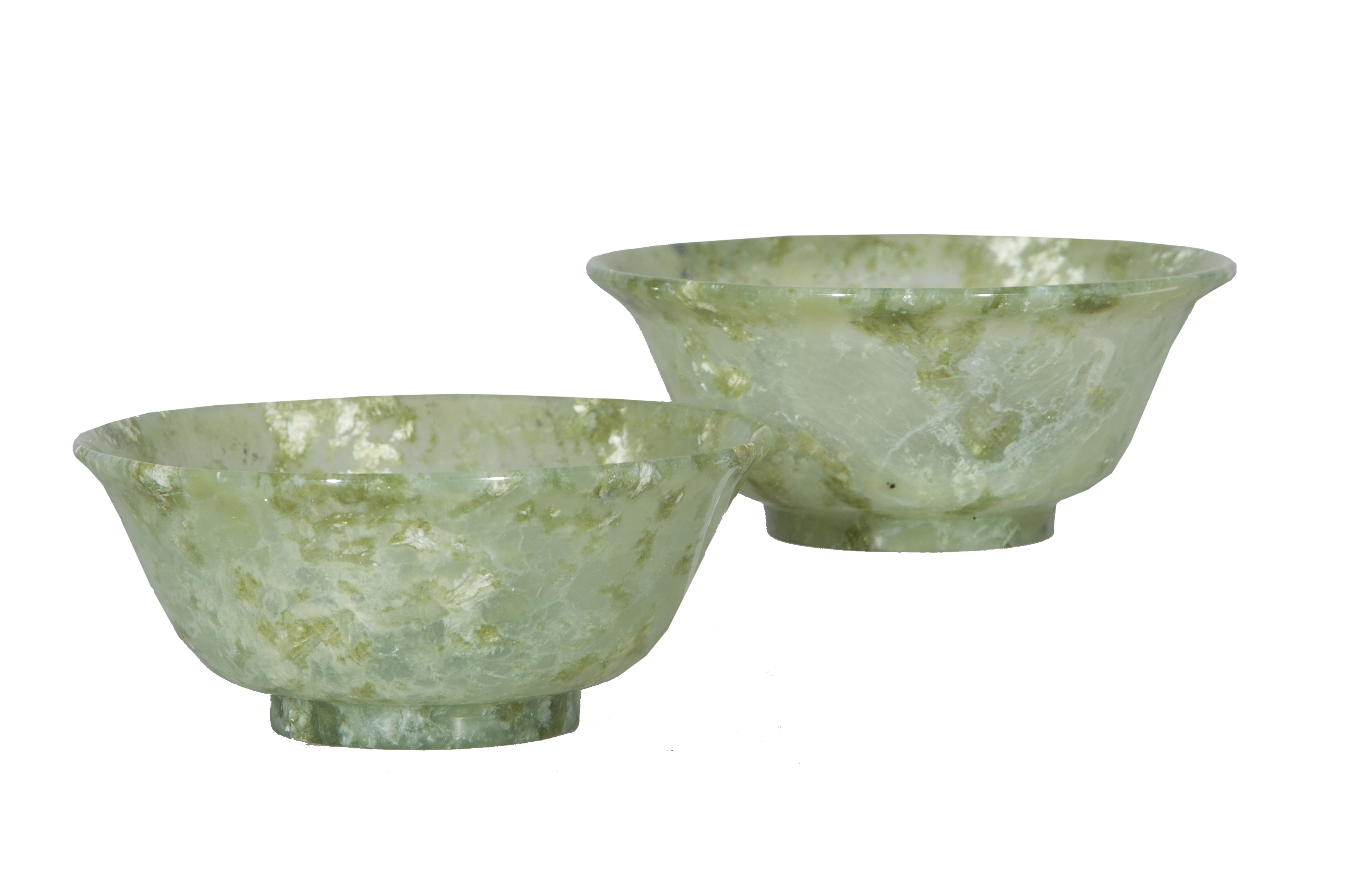 A pair of fine jade bowls
