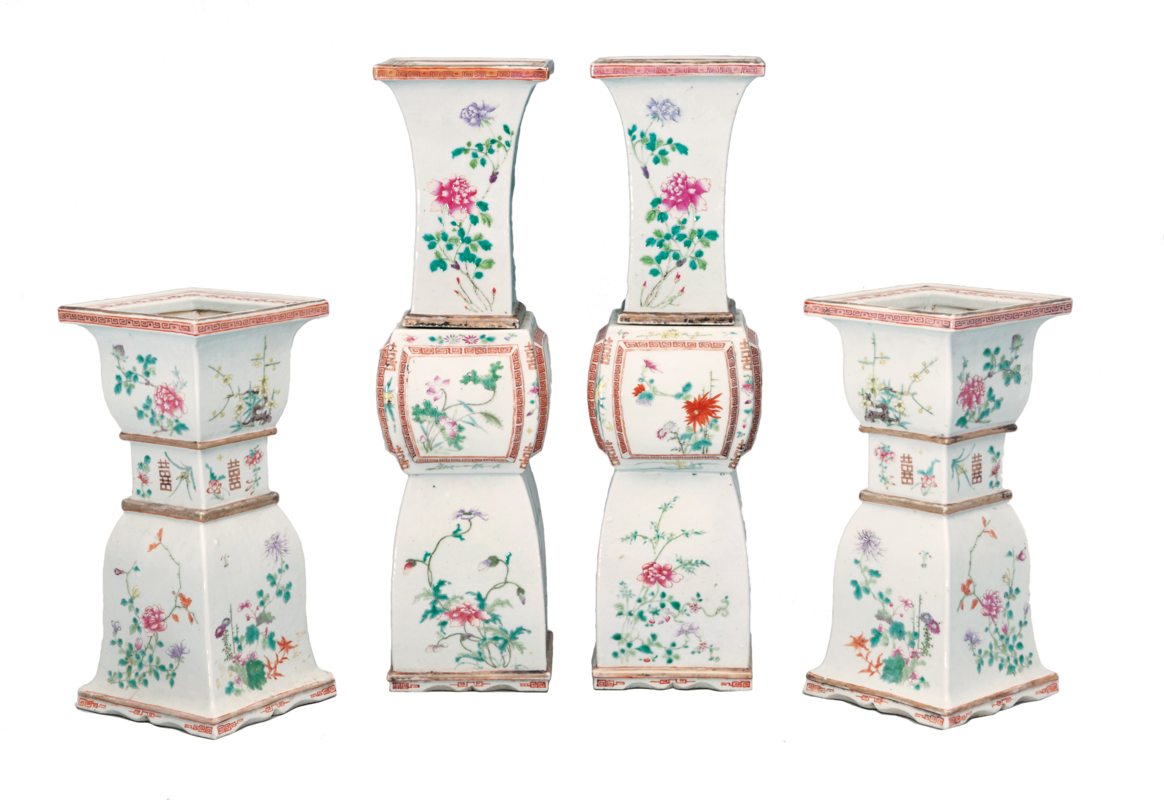 A set of 4 Famille-Rose wedding altar vases