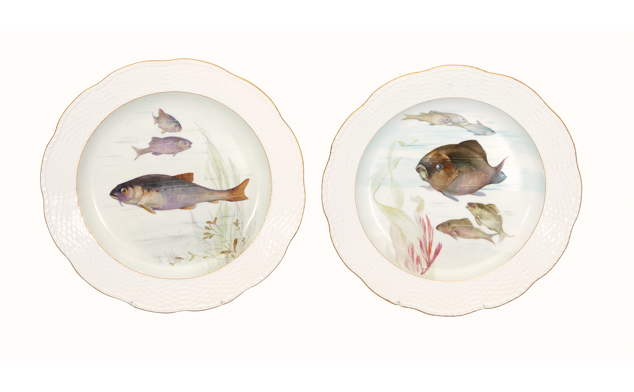 A pair of plates with fishes