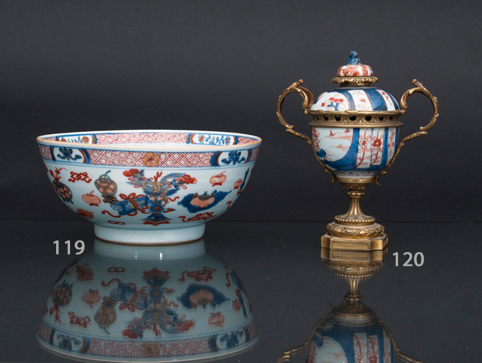 A large Imari bowl with '100 Antiquities'