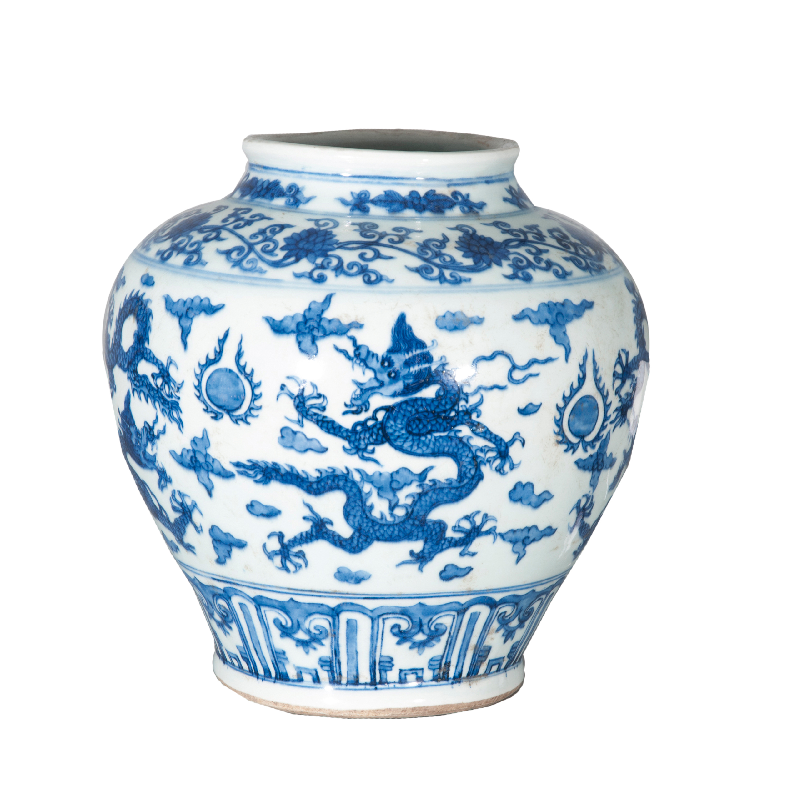 A Ming-style jar with dragons
