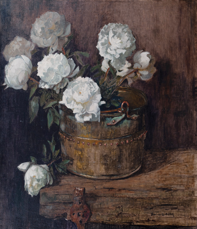 Peonies in a Copper Bucket