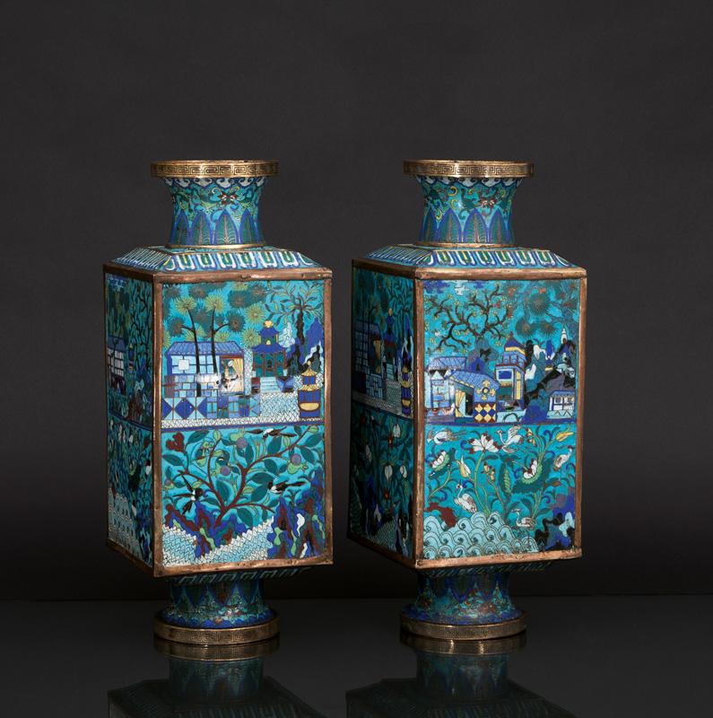 A very rare pair of magnificent CONG cloisonné vases
