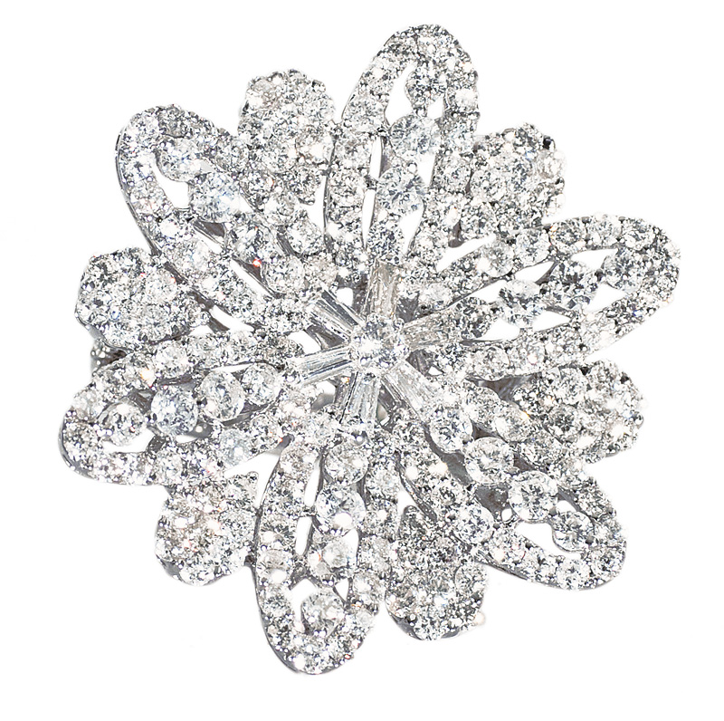 A large diamond ring in flowershape