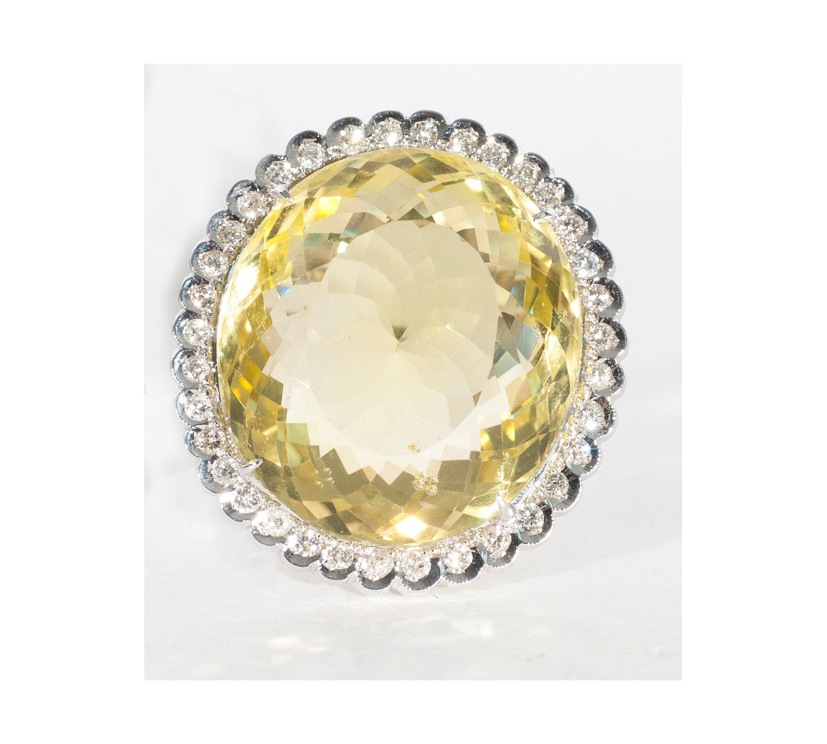A large citrine diamond cocktailring