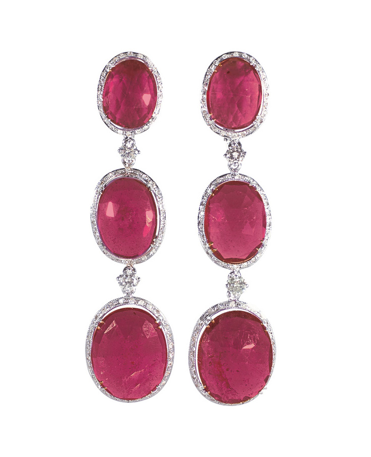 A pair of ruby diamond earpendants