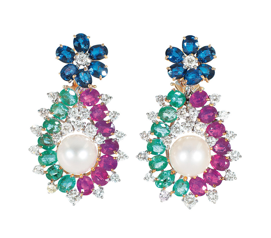 A pair of ruby emerald sapphire earpendants with pearls and diamonds