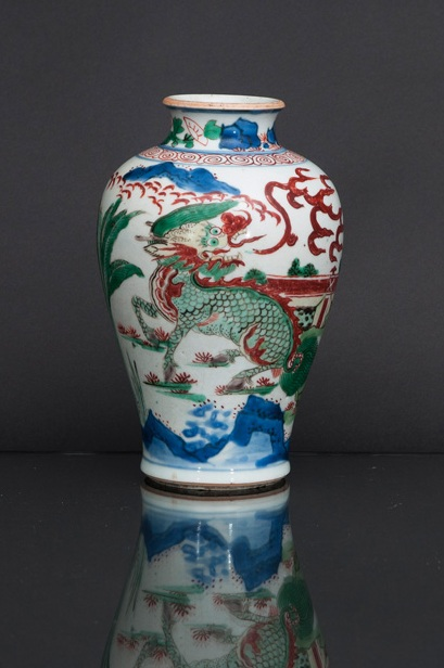 A 'Wucai' baluster vase with Qilin