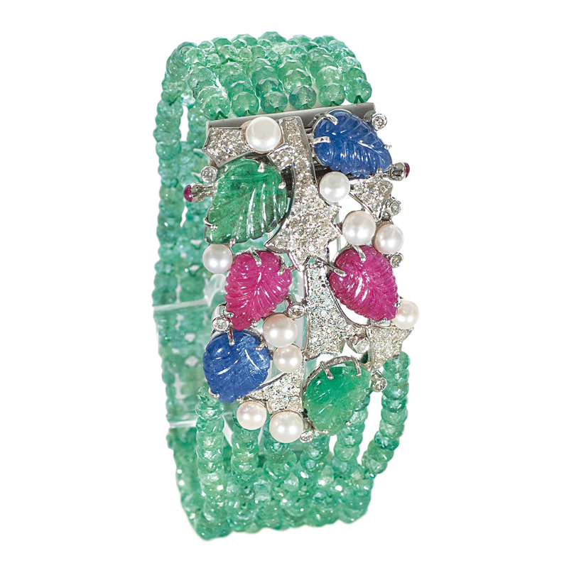 An emerald ruby sapphire bracelet with diamond in Tutti-Frutti style