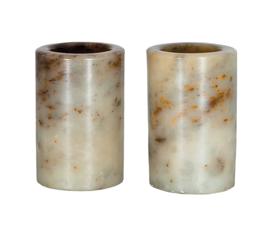 A pair of celadon jade cylindrical brush pots