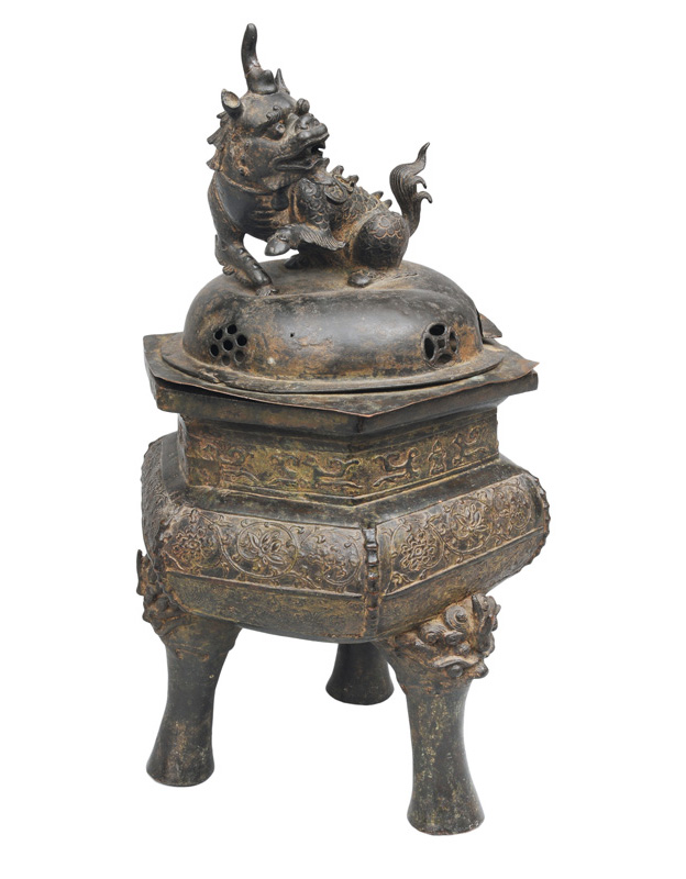 A tall bronze censer with Qilin figure