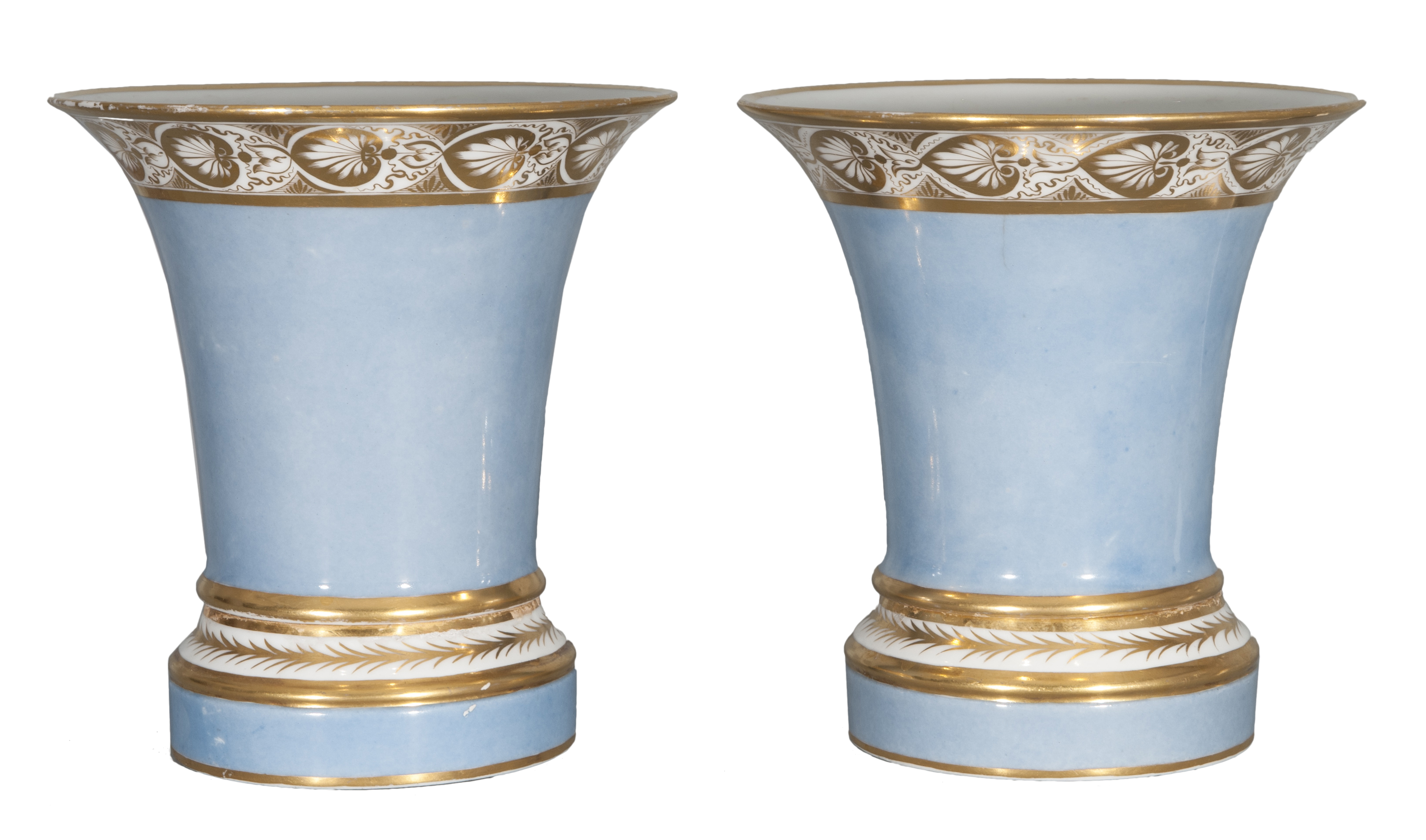 A pair of elegant Empire trumpet vases