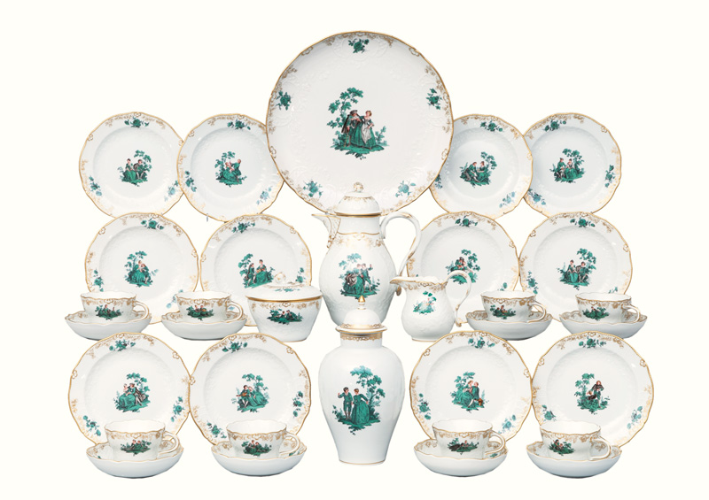 A coffee set copper-green 'Watteau' painting für 12 persons