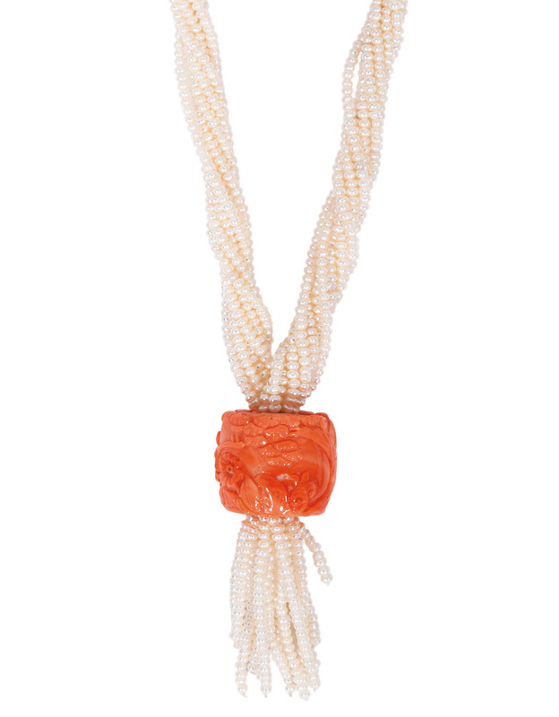 An antique coral jewellery centerpiece with seedpearl necklace