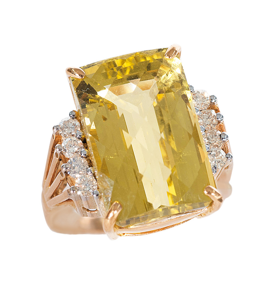 A citrine diamond ring