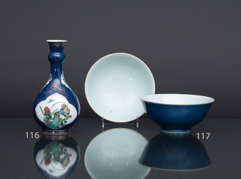 A pair of 'Powder-blue' bowls