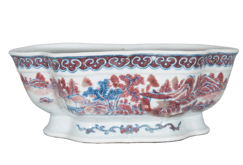 A barber's bowl with landscape decoration