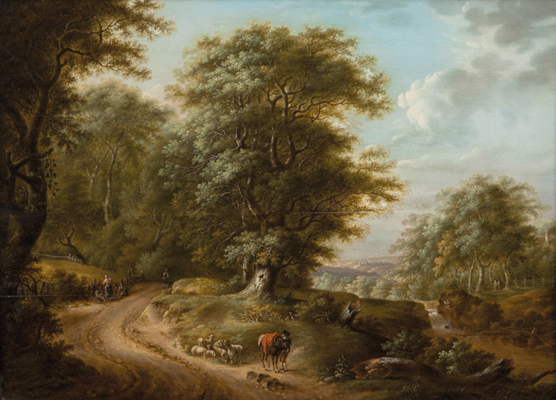 Wooded Landscape with Sheep and Shepherds