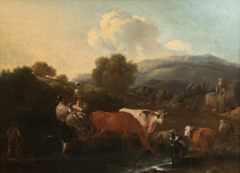 Two Women with Cattle by the River