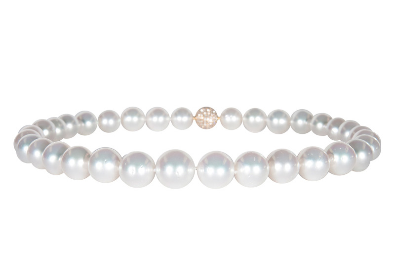 A Southsea pearl necklace with a diamond clasp
