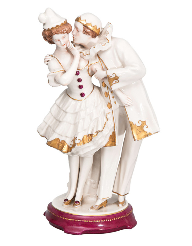 A figural group 'Pierrot and Columbine'