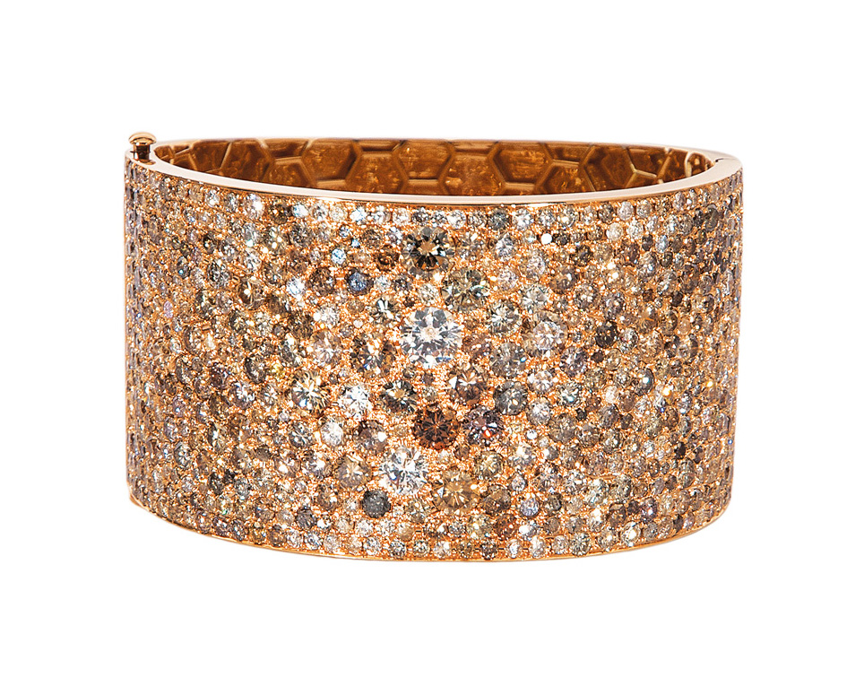 A modern, highcarat diamond bangle bracelet