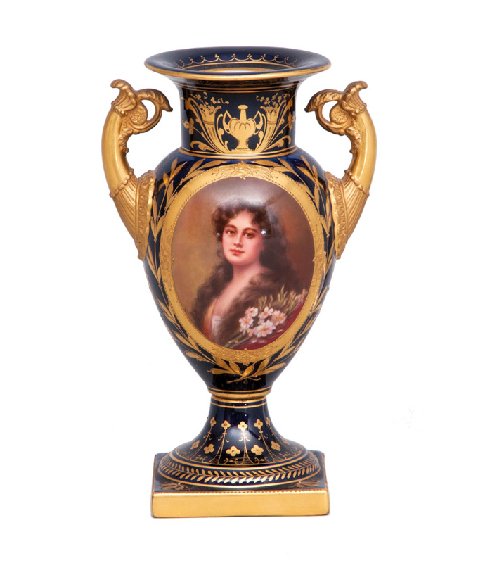 A small cobalt-blue amphora vase with portrait of a lady