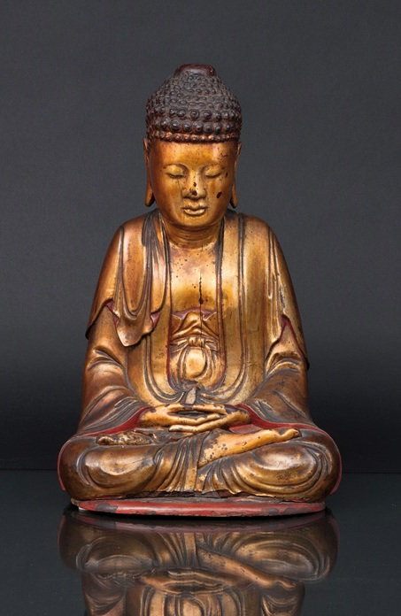 A tall wooden and gilt lacquered Buddha 'Shakyamuni'
