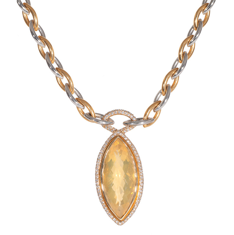 A citrine peridot diamond pendant with necklace