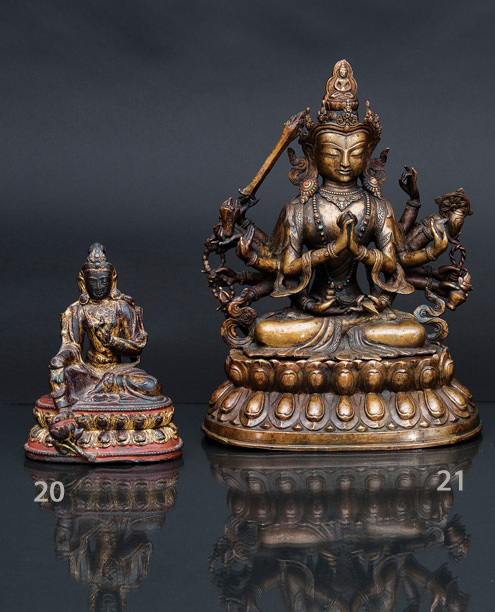 A bronze figure 'Green Tara'