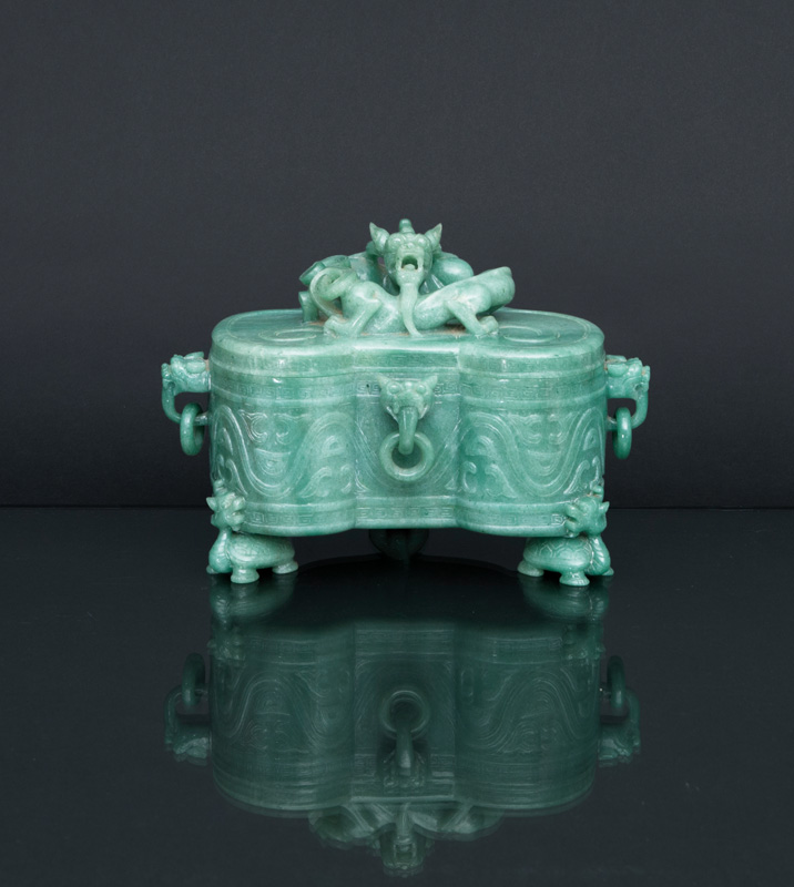 A large jade cover box in Ruyi-shape