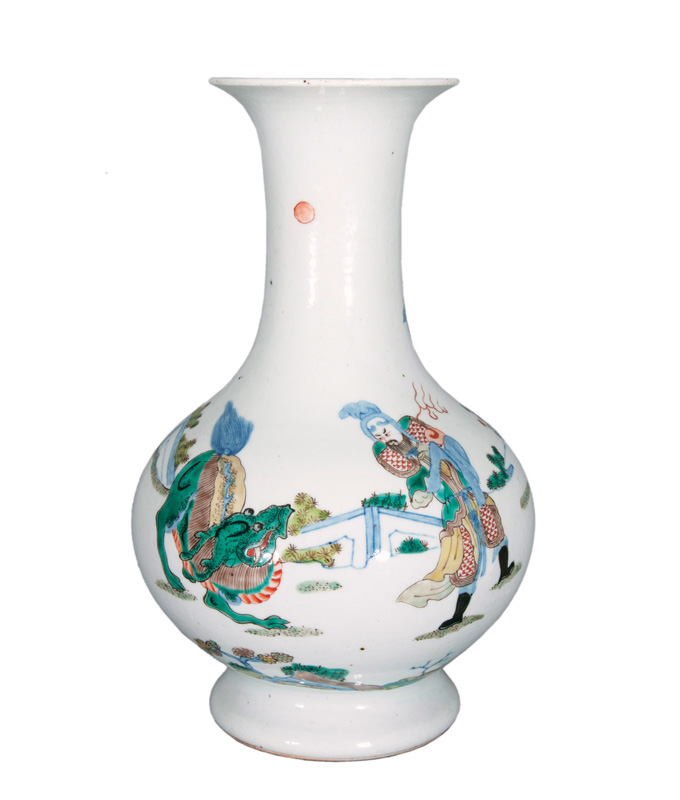 A 'Famille Verte' vase with Qilin and warrior