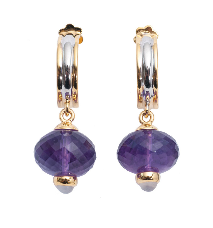 A pair of amethyst gold earrings