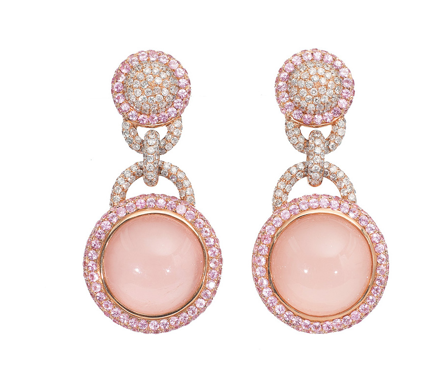 A pair of pink-sapphire rosequartz earpendants with diamonds