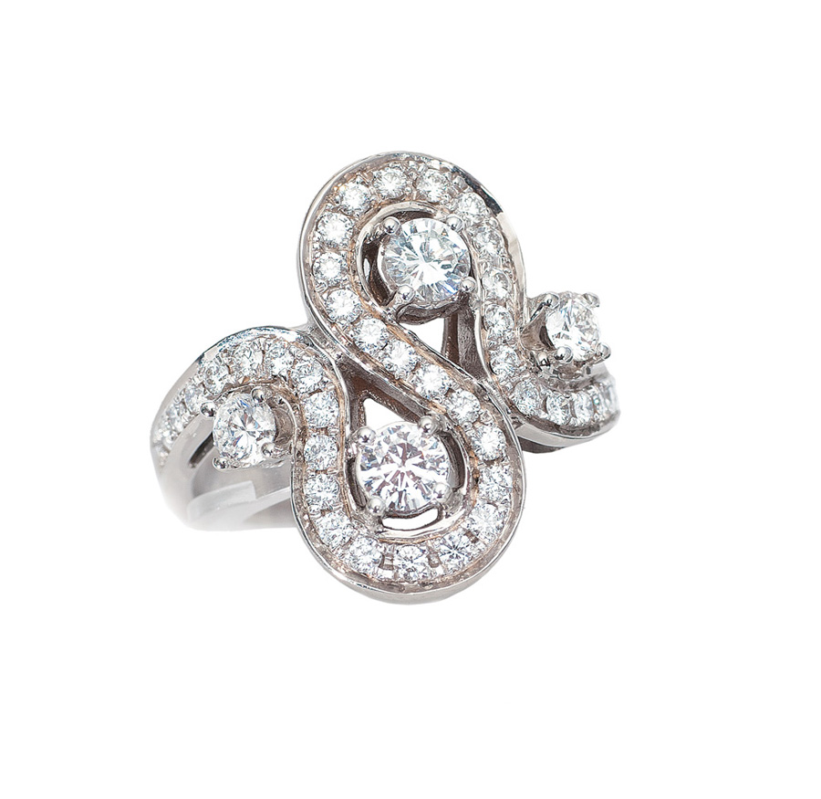 A diamond ring in Art Nouveau style