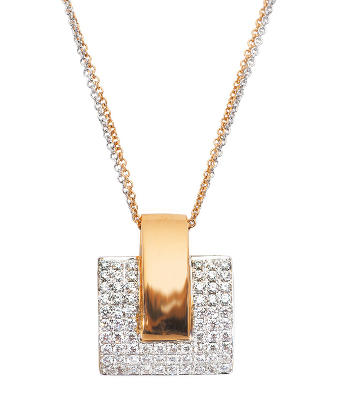 A diamond pendant with necklace
