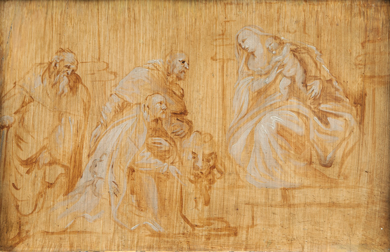 Mary with the Child, worshipped by three Saints