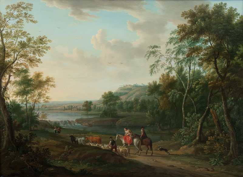 Southern Landscape with travelling Herdsmen
