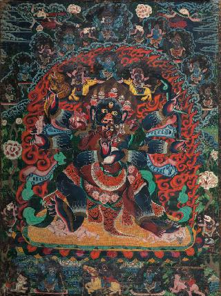 A black ground Thangka 'Chaturbhuja Mahakala'
