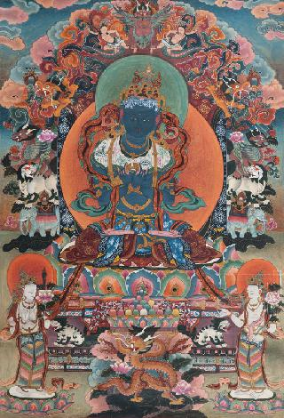 A Thangka 'Blue Buddha on a lotus throne'