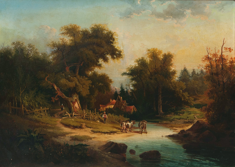 Landscape with Farmyard and Cows by a Creek