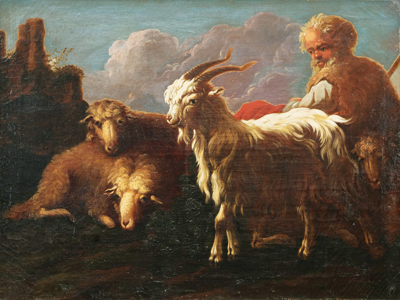 Herdsman with Goat and Sheep