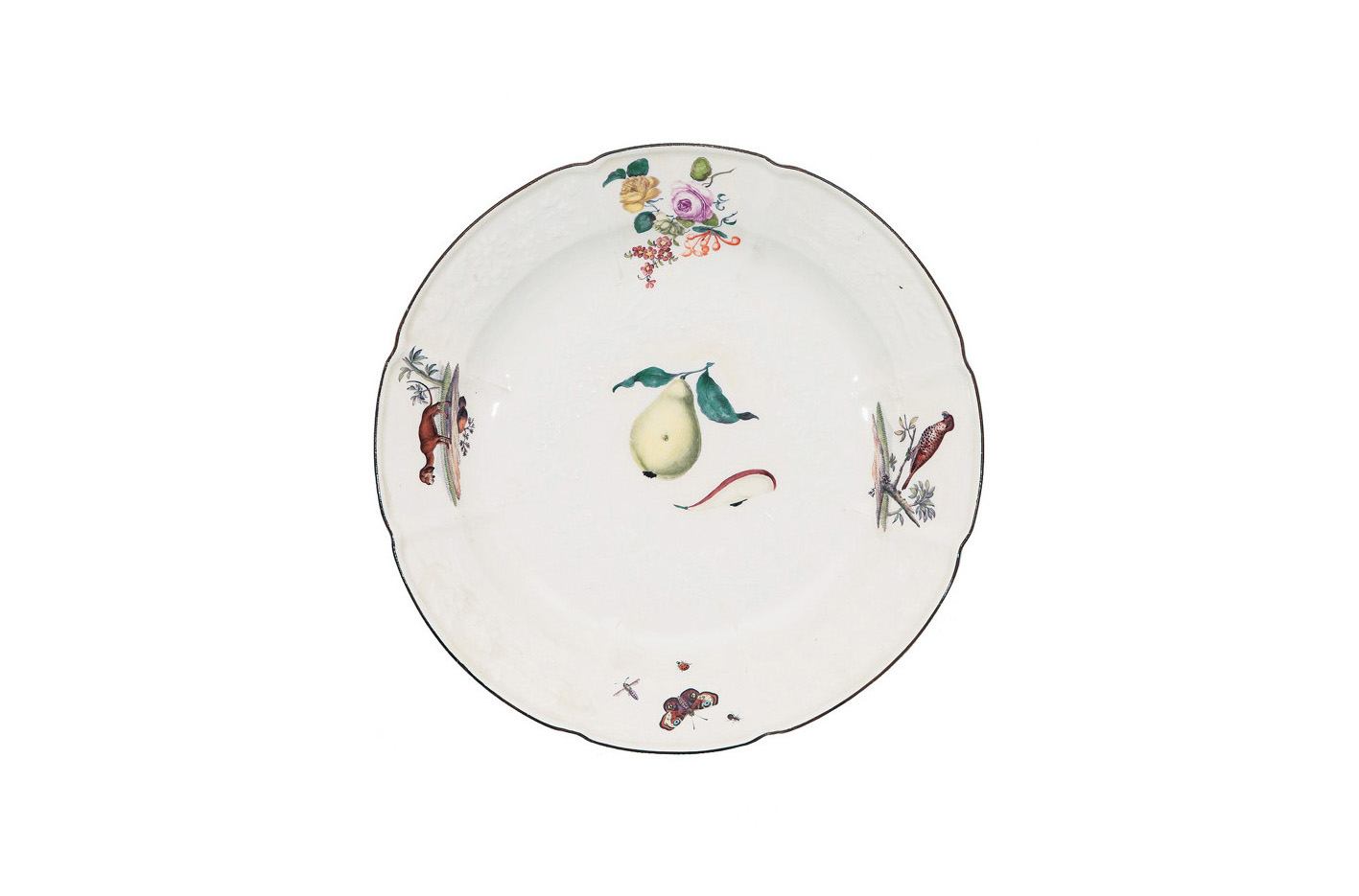 A large 'Gotzkowsky' plate with animal paintings